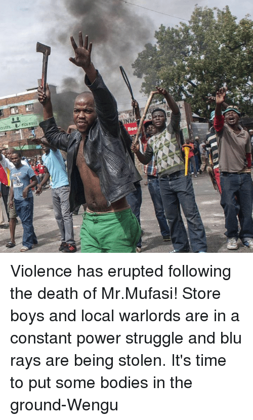 Blockbuster Uganda: oSTEL  KOSMULS  INM  Bee Violence has erupted following the death of Mr.Mufasi! Store boys and local warlords are in a constant power struggle and blu rays are being stolen. It's time to put some bodies in the ground-Wengu