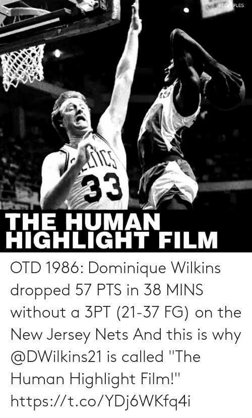 """Wilkins: OTD 1986: Dominique Wilkins dropped 57 PTS in 38 MINS without a 3PT (21-37 FG) on the New Jersey Nets  And this is why @DWilkins21 is called """"The Human Highlight Film!""""  https://t.co/YDj6WKfq4i"""