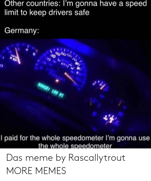 speed: Other countries: I'm gonna have a speed  limit to keep drivers safe  Germany:  4000  10  HPA  RGE 100 N  I paid for the whole speedometer I'm gonna use  the whole speedometer Das meme by Rascallytrout MORE MEMES