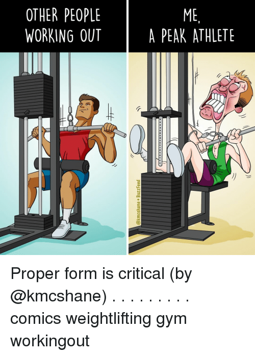Gym, Memes, and Working Out: OTHER PEOPLE  WORKING OUT  ME  A PEAK ATHLETE  |  Jy Proper form is critical (by @kmcshane) . . . . . . . . . comics weightlifting gym workingout