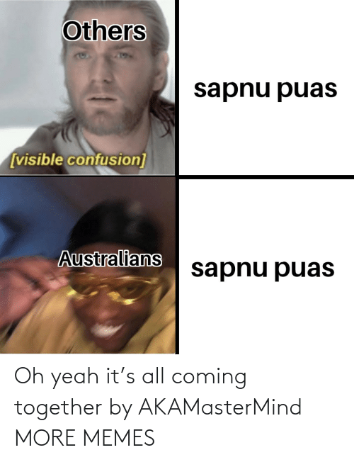 oh yeah: Others  sapnu puas  [visible confusion]  Australians  sapnu puas Oh yeah it's all coming together by AKAMasterMind MORE MEMES