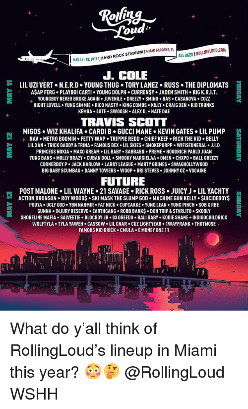 Trunks: ou  ALLAGES I ROLLINGLOUD.COM  11-13, 2018 | HARD ROCK STADIUM I MIAMI GARDENS  J. COLE  LIL UZI VERT+ N.E.R.D-YOUNG THUG-TORY LANE2+ Russ-THE DIPLOMATS  AŞAP FERG. PLAYBOI CARTI YOUNG DOLPH. CURRENŞY. JADEN SMITH BIG K.R.I.T  YOUNGBOY NEVER BROKE AGAIN . JUVENILE . DREEZY . SMINO . BAS . CASANOVA . COZZ  NIGHT LOVELL . YUNG SIMMIE-RICO NASTY . KING COMBS-KILL-CRAIG XEN-KID TRUNKS  KEMBA LUTE.SWOOSH ALEX D. NATE DAE  TRAVIS SCOTT  MIGOS  WIZ KHALIFA . CARDI B·GUCCI MANE-KEVIN GATES . LIL PUMP  NAV . METRO BOOMIH-FETTY WAP . TRIPPIE REDD-CHIEF KEEF-RICH THE KID-BELLY  LILXAN TRICK DADDY & TRINA FAMOUS DEX LIL SKIES SMOKEPURPP WIFISFUNERAL. J.I.D  PRINCESS NOKIA MAXO KREAM LIL BABY . SAHBABII . PREME-HOODRICH PABLO JUAN  YUNG BANs-MOLLY BRAZY . CUBAN DOLL SMOOKY MARGI ELAA+ 0MEN·CHXPo-BALL GREEZY  CORNERBOY P JACK HARLOW LARRY LEAGUE MARTY GRIMES SWAGHOLLYWO0D  BIG BABY SCUMBAG DANNY TOWERS WOOP BRI STEVES JOHNNY OZ.VOCAINE  +  FUTURE  POST MALONE> LIL WAYNE-21 SAVAGE-RICK ROSS·JUICY J . LIL YACHTY  -ACTION BRONSON-ROY WOOD$ . SKI MASK THE SLUMP GOD-MACHINE GUN KELLY . $UICIDEBOY$  트  POUYA UGLY GOD YBN NAHMIR FAT NICK CUPCAKKE YUNG LEAN YUNG PINCH SOB X RBE  GUNNA INJURY RESERVE EARTHGANG ROBB BANKS DON TRIP & STARLITO. SKOOLY  SHORELINE MAFIA . SAWEETIE-BLOCBOY JB+ 03 GREED0-BALI BABY-KODIE SHANE-INDIGOCHILDRICK  WOLFTYLA TYLA YAWEH CASSOW LIL GNAR CUZ LIGHTYEAR 1WAYFRANK THUTMOSE  FAMOUS KID BRICK CMULA E MONEY ONE 11 What do y'all think of RollingLoud's lineup in Miami this year? 😳🤔 @RollingLoud WSHH