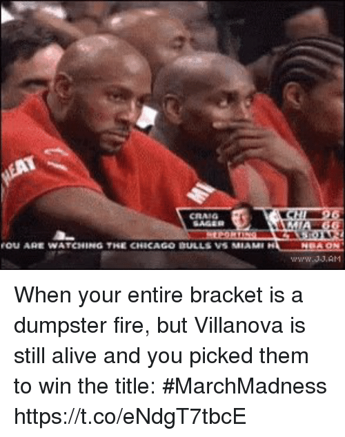 marchmadness: OU ARE WATCHING THE CHICAGO DULLS VS MIAM When your entire bracket is a dumpster fire, but Villanova is still alive and you picked them to win the title: #MarchMadness https://t.co/eNdgT7tbcE