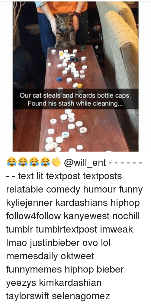 Stashe: Our cat steals and hoards bottle caps.  Found his stash while cleaning. 😂😂😂😂👏 @will_ent - - - - - - - - text lit textpost textposts relatable comedy humour funny kyliejenner kardashians hiphop follow4follow kanyewest nochill tumblr tumblrtextpost imweak lmao justinbieber ovo lol memesdaily oktweet funnymemes hiphop bieber yeezys kimkardashian taylorswift selenagomez