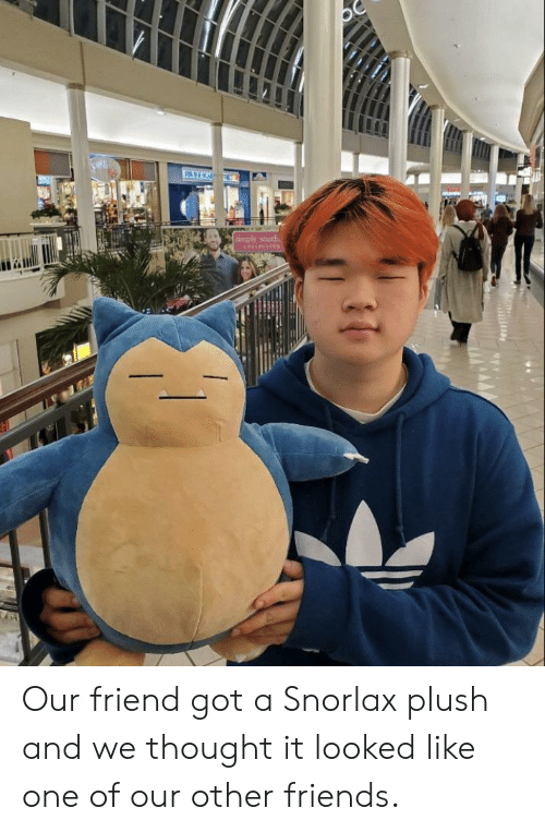 plush: Our friend got a Snorlax plush and we thought it looked like one of our other friends.