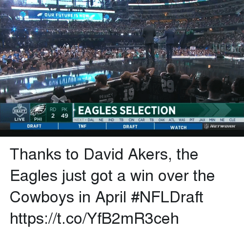 Sizzle: OUR FUTUREIS HOW  PEASCY  REAGLES SELECTION  2 49  DRAFT  LIVEPHI  NEXT DAL NE IND TB CIN CAR TB OAK ATL WAS PIT JAX MIN NE CLE  DRAFT  TNF  DRAFT  WATCH  NETWORK Thanks to David Akers, the Eagles just got a win over the Cowboys in April #NFLDraft https://t.co/YfB2mR3ceh