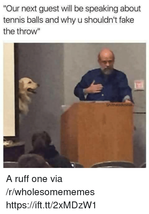 "Fake, Tennis, and Next: ""Our next guest will be speaking about  tennis balls and why u shouldn't fake  the throw""  Shitheadsteve A ruff one via /r/wholesomememes https://ift.tt/2xMDzW1"