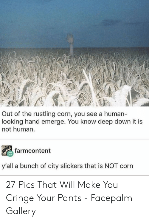 cringe: Out of the rustling corn, you see a human-  looking hand emerge. You know deep down it is  not human.  farmcontent  y'all a bunch of city slickers that is NOT corn 27 Pics That Will Make You Cringe Your Pants - Facepalm Gallery