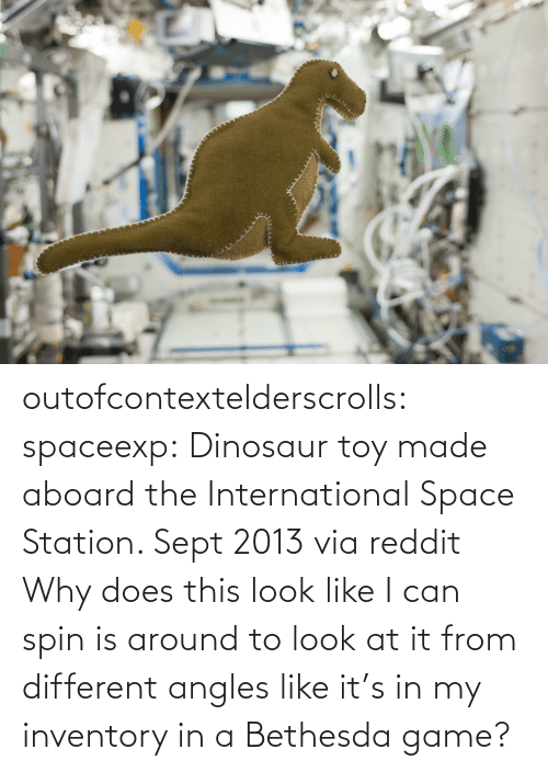 station: outofcontextelderscrolls: spaceexp:  Dinosaur toy made aboard the International Space Station. Sept 2013 via reddit   Why does this look like I can spin is around to look at it from different angles like it's in my inventory in a Bethesda game?