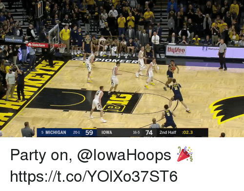 Memes, Party, and Michigan: OWA CORN  23  Natio  State Farm  16-5 74 2nd Half :02.3  5 MICHIGAN 20-1 59 1OWA Party on, @IowaHoops 🎉 https://t.co/YOlXo37ST6
