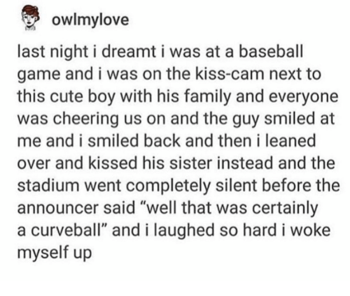 """Baseball, Cute, and Family: owlmy love  last night i dreamt i was at a baseball  game and i was on the kiss-cam next to  this cute boy with his family and everyone  was cheering us on and the guy smiled at  me and i smiled back and then i leaned  over and kissed his sister instead and the  stadium went completely silent before the  announcer said """"well that was certainly  a curveball"""" and i laughed so hard i woke  myself up"""