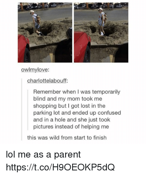 Confused, Lol, and Shopping: owlmylove:  charlottelabouff:  Remember when I was temporarily  blind and my mom took me  shopping but I got lost in the  parking lot and ended up confused  and in a hole and she just took  pictures instead of helping me  this was wild from start to finish lol me as a parent https://t.co/H9OEOKP5dQ
