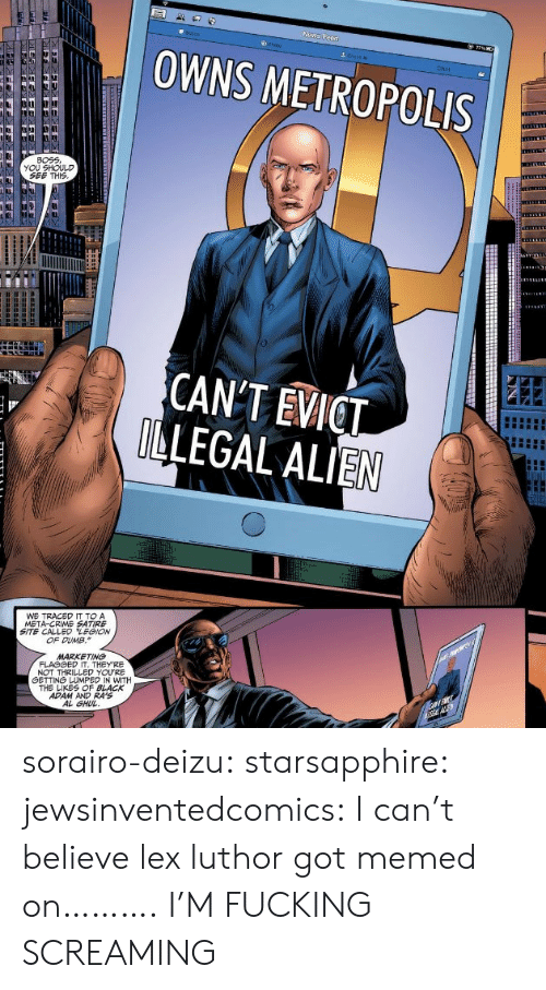 black adam: OWNS METROPOLIS  Chat  BOEE  YOU SHOULD  SEE THIS  CANT EVICT  LEGAL ALIEN  WE TRACED IT TO A  META-CRIME SATIRE  SITE CALLED LEGION  OF DUMB.  MARKETING  NOT THRILLED YOURE  白ETTNá LUMPED IN WITH  THE LIKES OF BLACK  ADAM AND RA'S  AL GHU sorairo-deizu:  starsapphire:  jewsinventedcomics:  I can't believe lex luthor got memed on……….  I'M FUCKING SCREAMING
