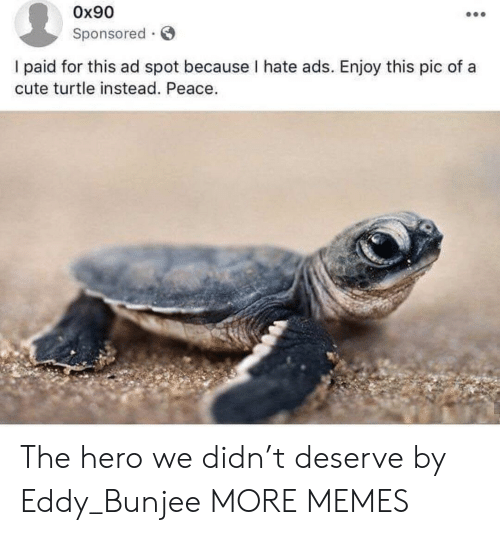 Cute, Dank, and Memes: Ox90  Sponsored  I paid for this ad spot because I hate ads. Enjoy this pic of a  cute turtle instead. Peace. The hero we didn't deserve by Eddy_Bunjee MORE MEMES