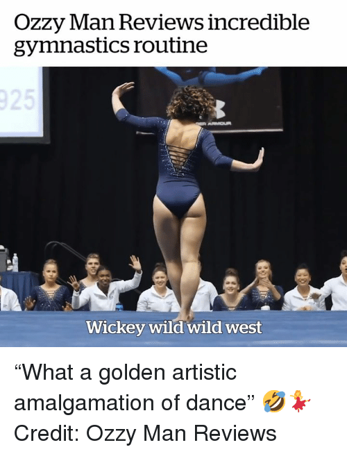 """Gymnastics: OZZy lan Reviews incredible  gymnastics routine  Wickey wild wild west """"What a golden artistic amalgamation of dance"""" 🤣💃  Credit: Ozzy Man Reviews"""