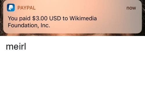 Paypal, MeIRL, and Foundation: P PAYPAL  You paid $3.00 USD to Wikimedia  Foundation, Inc.  now meirl
