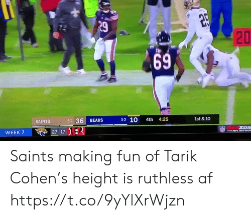 asd: P29  1st & 10  3-2 10  4th 4:25  5-1 36  BEARS  SAINTS  ZON  NFL From NFL NETWOR  27 17 13  WEEK 7  ASD  20  69 Saints making fun of Tarik Cohen's height is ruthless af  https://t.co/9yYlXrWjzn