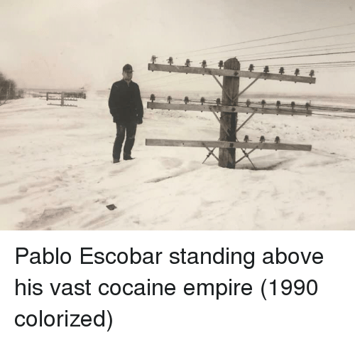escobar: Pablo Escobar standing above his vast cocaine empire (1990 colorized)