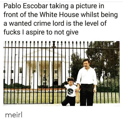 Pablo Escobar: Pablo Escobar taking a picture in  front of the White House whilst being  a wanted crime lord is the level of  fucks I aspire to not give meirl