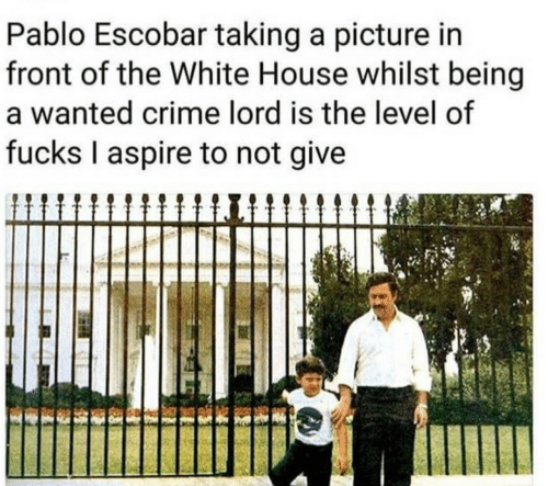 Taking A Picture: Pablo Escobar taking a picture in  front of the White House whilst being  a wanted crime lord is the level of  fucks I aspire to not give