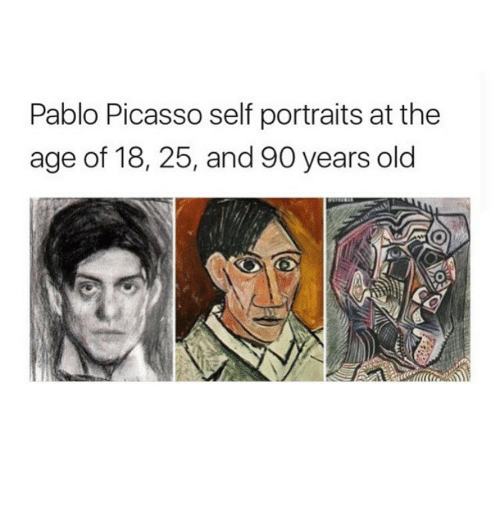 Pablo Picasso: Pablo Picasso self portraits at the  age of 18, 25, and 90 years old