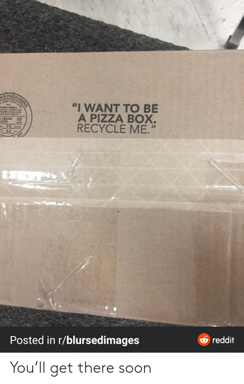 "Construction: PACKAGING  ER  CERTIFICAT  ""I WANT TO BE  A PIZZA BOX.  RECYCLE ME.""  THIS  SINGLEWALL  EETS ALL CONSTRUCTION  REMEITS OF APPLICABLE  EIGHT CLASSIFICATION  E CRUSH 32  (ECT)  Mt 75 MCHES  65 us  LOSAN  OSS  ELT  O reddit  Posted in r/blursedimages You'll get there soon"