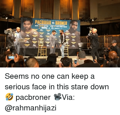 Memes, 🤖, and Can: PACOUIAD vs BRONER Seems no one can keep a serious face in this stare down 🤣 pacbroner 📽Via: @rahmanhijazi