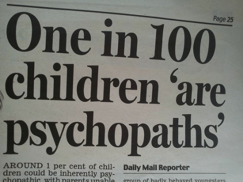 Children, Daily Mail, and Mail: Page 25  One in 100  children are  psychopaths  AROUND 1 per cent of chil- Daily Mail Reporter  dren could be inherently psy-  chonathic with narentsunahle groun of hadly hehaved voungsters
