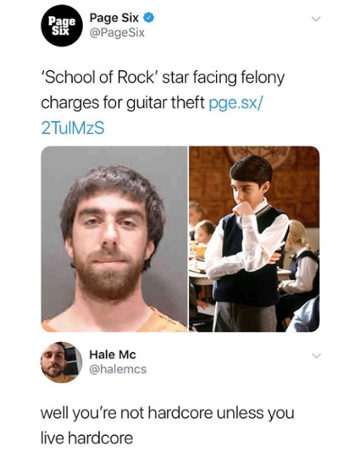 Funny, School, and Tumblr: Page  Six  Page Six  @PageSix  School of Rock' star facing felony  charges for guitar theft pge.sx/  2TulMzS  Hale Mc  @halemcs  well you're not hardcore unless you  live hardcore