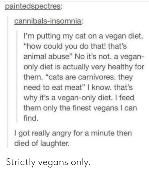 "Cats, Vegan, and Animal: paintedspectres:  cannibals-insomnia:  I'm putting my cat on a vegan diet.  ""how could you do that! that's  animal abuse"" No it's not. a vegan-  only diet is actually very healthy for  them. ""cats are carnivores. they  need to eat meat"" I know. that's  why it's a vegan-only diet. I feed  them only the finest vegans I can  find.  I got really angry for a minute then  died of laughter. Strictly vegans only."