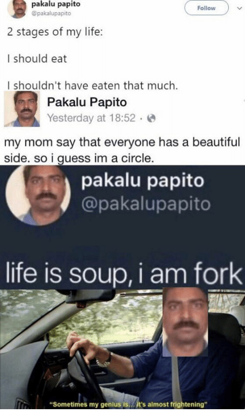 """Beautiful, Life, and Genius: pakalu papito  Follow  @pakalupapito  2 stages of my life:  I should eat  I shouldn't have eaten that much.  Pakalu Papito  Yesterday at 18:52  my mom say that everyone has a beautiful  side. so i guess im a circle.  pakalu papito  @pakalupapito  life is soup, i am fork  """"Sometimes my genius is...it's almost frightening"""""""