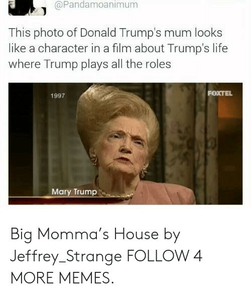 Donald Trumps: @Pandamoanimum  This photo of Donald Trump's mum looks  like a character in a film about Trump's life  where Trump plays all the roles  FOXTEL  1997  Mary Trump Big Momma's House by Jeffrey_Strange FOLLOW 4 MORE MEMES.
