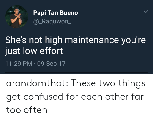 papi: Papi Tan Bueno  @_Raquwon_  She's not high maintenance you're  just low effort  11:29 PM 09 Sep 17 arandomthot: These two things get confused for each other far too often