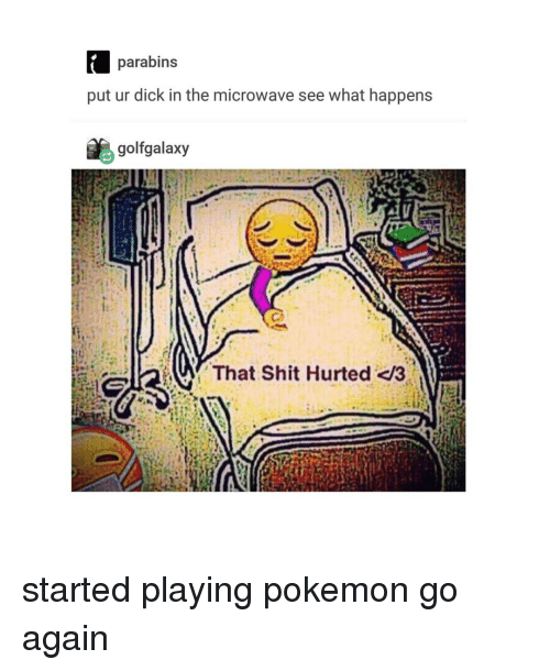 Hurted: parabins  put ur dick in the microwave see what happens  golfgalaxy  That Shit Hurted /3 started playing pokemon go again