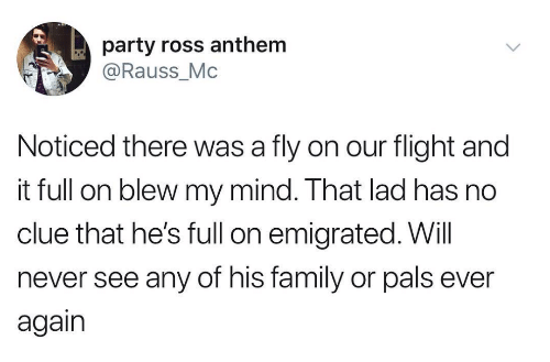 Blew My Mind: party ross anthem  @Rauss_Mc  Noticed there was a fly on our flight and  it full on blew my mind. That lad has no  clue that he's full on emigrated. Will  never see any of his family or pals ever  again
