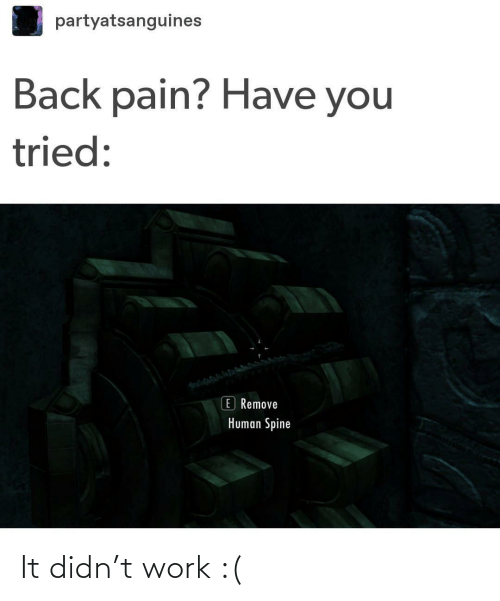 human: partyatsanguines  Back pain? Have you  tried:  E Remove  Human Spine It didn't work :(