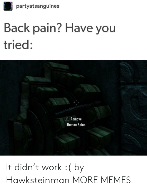 human: partyatsanguines  Back pain? Have you  tried:  E Remove  Human Spine It didn't work :( by Hawksteinman MORE MEMES