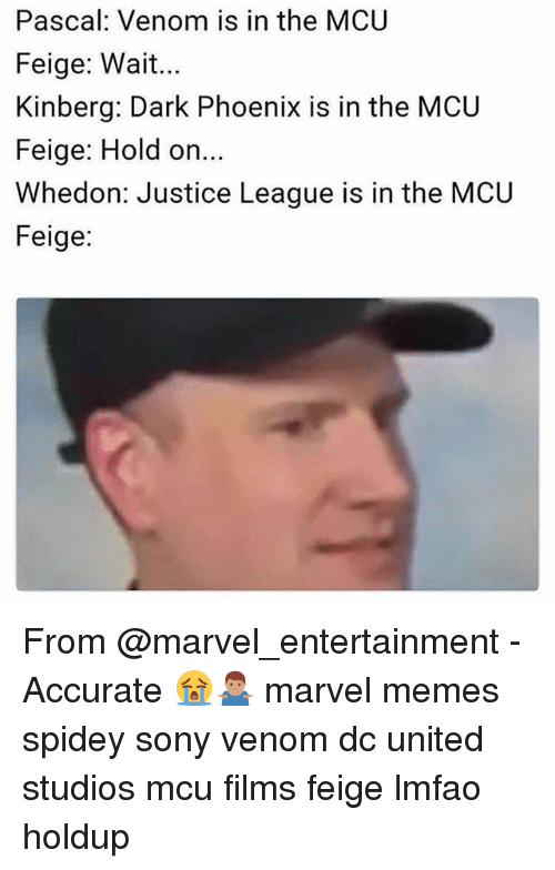 Memes, Sony, and Justice: Pascal: Venom is in the MCU  Feige: Wait...  Kinberg: Dark Phoenix is in the MCU  Feige: Hold on  Whedon: Justice League is in the MCU  Feige: From @marvel_entertainment - Accurate 😭🤷🏽‍♂️ marvel memes spidey sony venom dc united studios mcu films feige lmfao holdup