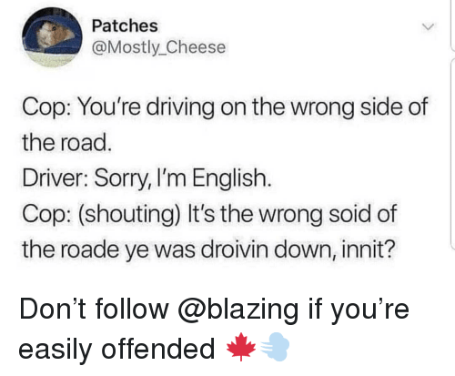 Driving, Memes, and Sorry: Patches  @Mostly_Cheese  Cop: You're driving on the wrong side of  the road  Driver: Sorry, I'm English.  Cop: (shouting) It's the wrong soid of  the roade ye was droivin down, innit? Don't follow @blazing if you're easily offended 🍁💨