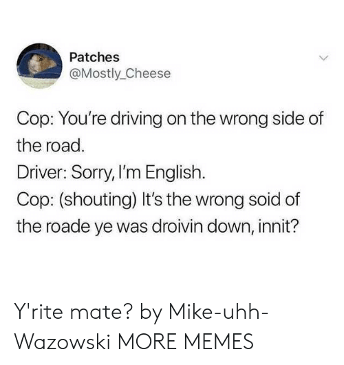 shouting: Patches  @Mostly_Cheese  Cop: You're driving on the wrong side of  the road.  Driver: Sorry, I'm English.  Cop: (shouting) It's the wrong soid of  the roade ye was droivin down, innit? Y'rite mate? by Mike-uhh-Wazowski MORE MEMES