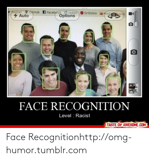 Dribbble: pater toEHub  4 Auto  Facebook reddit  Options  Ved o  Dribbble  FACE RECOGNITION  Level : Racist  TASTE OF AWESOME.COM Face Recognitionhttp://omg-humor.tumblr.com