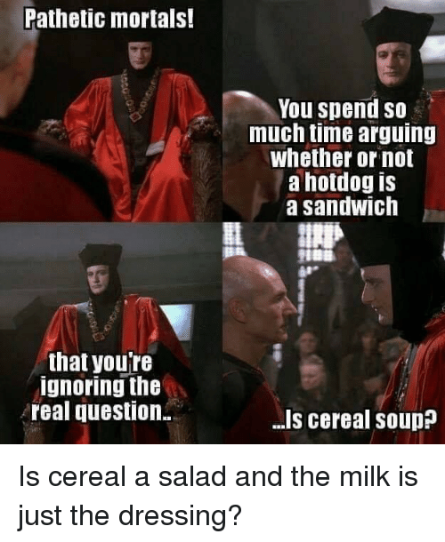 Dank, The Real, and Time: Pathetic mortals!  You spend so  much time arguing  whether or not  a hotdog is  a sandwich  that youTe  ignoring the  real question.  -Is cereal souD Is cereal a salad and the milk is just the dressing?