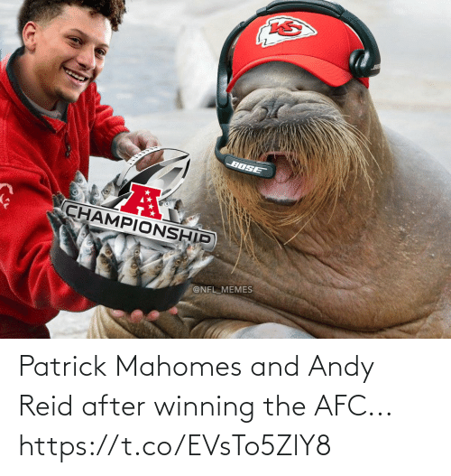 Mahomes: Patrick Mahomes and Andy Reid after winning the AFC... https://t.co/EVsTo5ZlY8