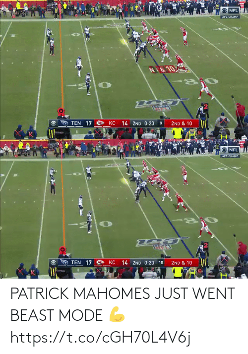 patrick: PATRICK MAHOMES JUST WENT BEAST MODE 💪 https://t.co/cGH70L4V6j