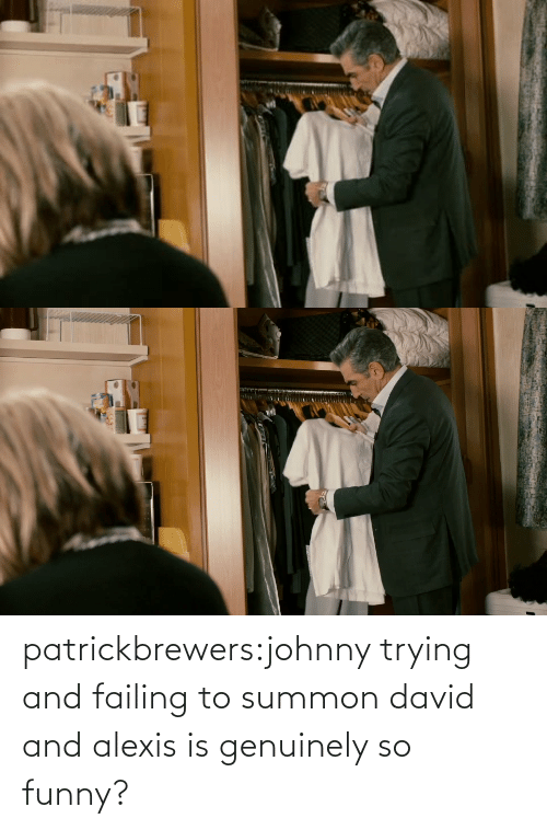 Funny: patrickbrewers:johnny trying and failing to summon david and alexis is genuinely so funny?