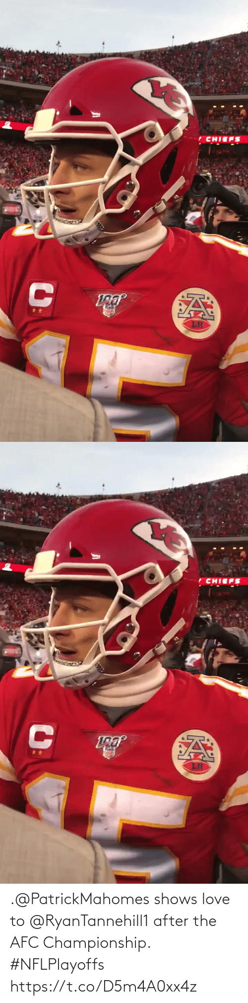 Love To: .@PatrickMahomes shows love to @RyanTannehill1 after the AFC Championship. #NFLPlayoffs https://t.co/D5m4A0xx4z