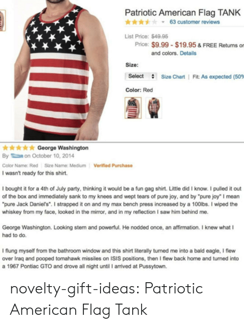 """Isis, Party, and Saw: Patriotic American Flag TANK  * * * y 63 customer reviews  List Price:$4998  Price: $9.99 $19.95 & FREE Returns or  and colors. Details  Size:  Select  #  Size Chart 