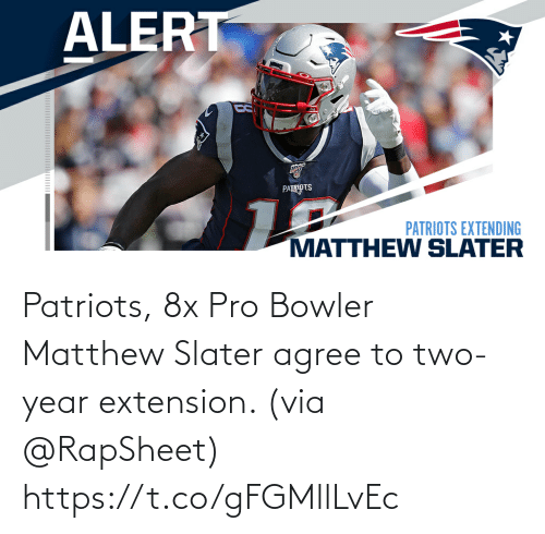 Patriotic: Patriots, 8x Pro Bowler Matthew Slater agree to two-year extension. (via @RapSheet) https://t.co/gFGMllLvEc