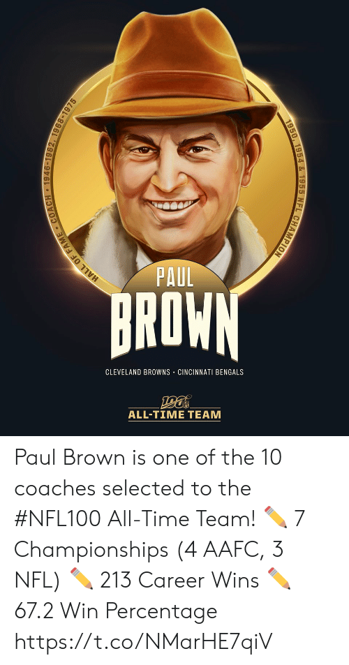 Cincinnati Bengals: PAUL  BROWN  CLEVELAND BROWNS CINCINNATI BENGALS  ALL-TIΜΕ ΤEAΜ  1946-1962, 1968-1975  HALL OF FAME  1950, 1954 & 1955 NFL CHAMPION Paul Brown is one of the 10 coaches selected to the #NFL100 All-Time Team!  ✏️ 7 Championships (4 AAFC, 3 NFL) ✏️ 213 Career Wins ✏️ 67.2 Win Percentage https://t.co/NMarHE7qiV