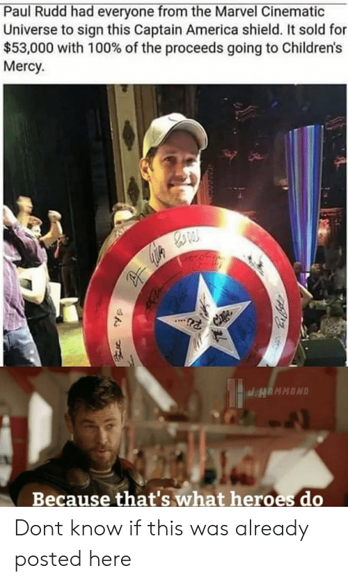 America, Heroes, and Marvel: Paul Rudd had everyone from the Marvel Cinematic  Universe to sign this Captain America shield. It sold for  $53,000 with 100% of the proceeds going to Children's  Mercy  Because that's what heroes do Dont know if this was already posted here